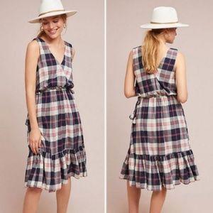 ANTHROPOLOGIE Dickens Plaid Dress Ruffled Midi M